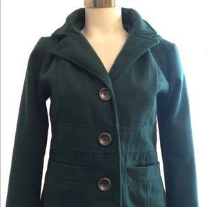 Jack BB Dakota Women's Hoodie Pea Coat Green EUC